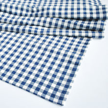 Load image into Gallery viewer, Cotton Gingham Check Table Runner, Navy Blue