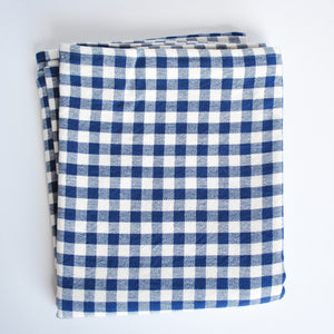 Cotton Gingham Check Table Runner, Navy Blue