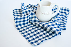 Gingham Check Cotton Napkins, Set of 4, Navy Blue