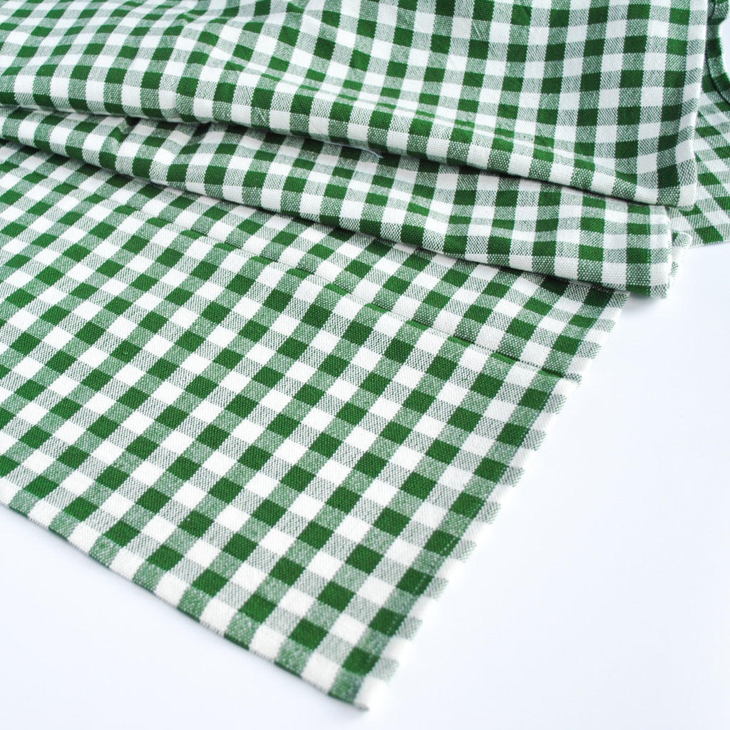 Cotton Gingham Check Table Runner, Green Emerald