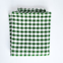 Load image into Gallery viewer, Cotton Gingham Check Table Runner, Green Emerald