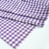 Cotton Gingham Check Table Runner, Purple
