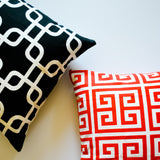 geometric pattern black and white pillow