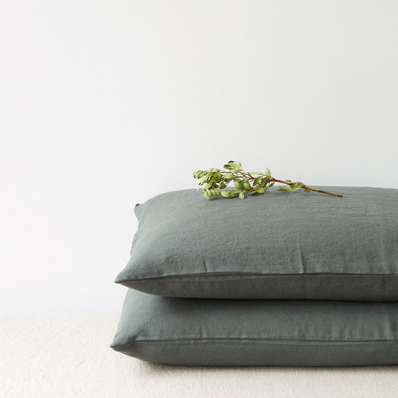 Set of Two Linen Bed Pillow Case in Forest Green