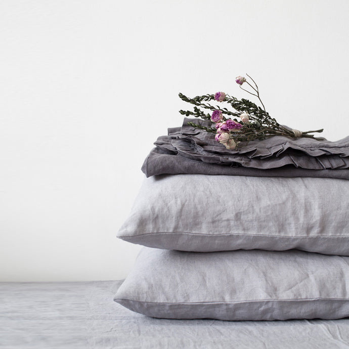 Set of Two Linen Bed Pillow Case in Light Gray