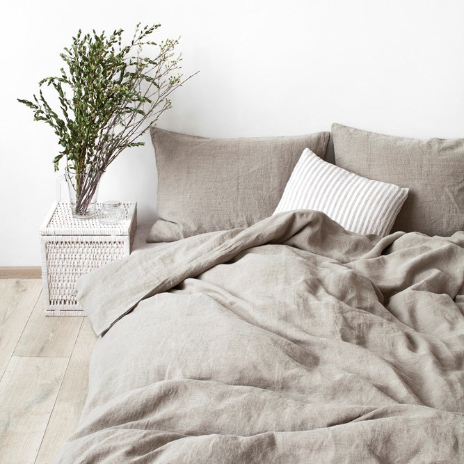 Duvet Cover and Pillow Bedding Set in Washed Natural