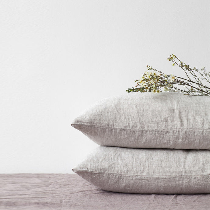 Set of Two Linen Bed Pillow Case in Washed Natural