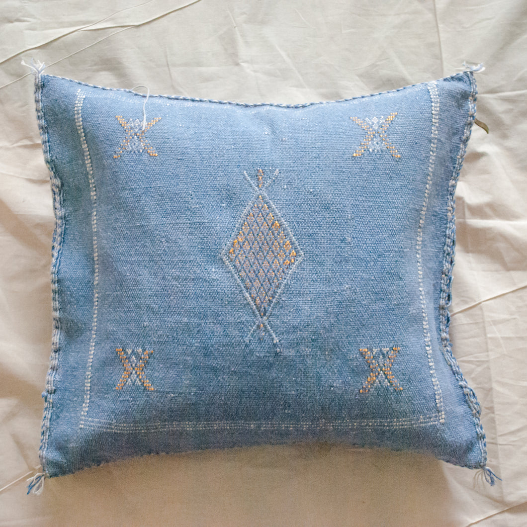 MOROCCAN CACTUS SILK PILLOW IN BLUE