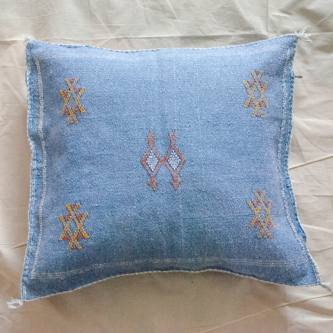 Denim Blue Moroccan Silk Pillow 18