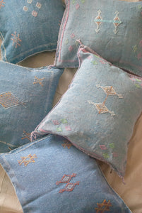 MOROCCAN SABRA SILK PILLOW IN BLUE