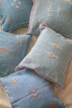 Load image into Gallery viewer, MOROCCAN CACTUS SILK PILLOW IN BLUE
