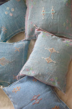 "Load image into Gallery viewer, Denim Blue Moroccan Silk Pillow 18""x18"""