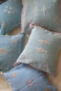 "Denim Blue Moroccan Silk Pillow 18""x18"""