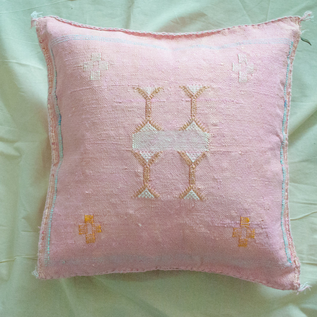 Pink Moroccan Cactus Silk Pillow 18