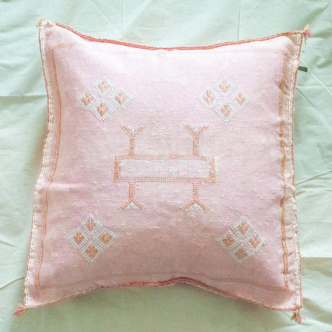 Moroccan Sabra Silk Accent Pillow - Washed Pink