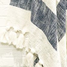Load image into Gallery viewer, Designer striped throw in navy blue with tassels