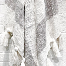 Load image into Gallery viewer, Designer striped throw in light gray with tassels