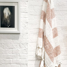 Load image into Gallery viewer, Neutral camel designer throw blanket with tassels
