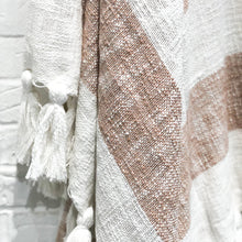 Load image into Gallery viewer, striped camel and white throw with tassels