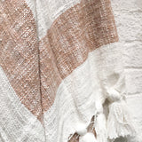 camel striped throw blanket with tassels