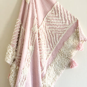 pink and cream accent throw