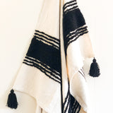 black and white accent throw blanket