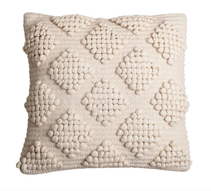 Beige textured throw pillow