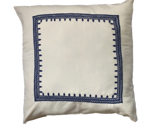 Vineyard white and blue accent pillow