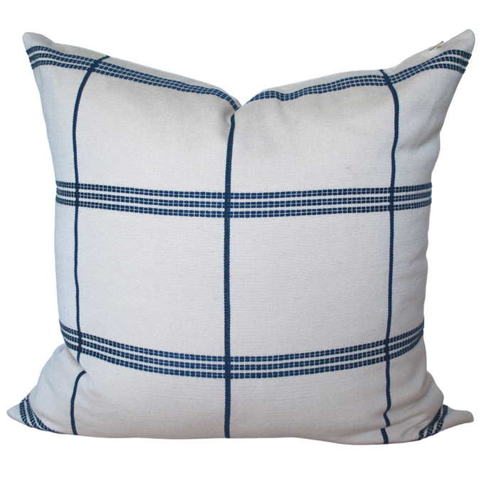 Set of two cream and blue throw pillow