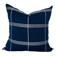 "Load image into Gallery viewer, Azul y Blanco Stripes 20""x20"" Blue Pillow Cover"