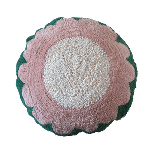 Washable floor pillow in green, pink and cream, with a flower design