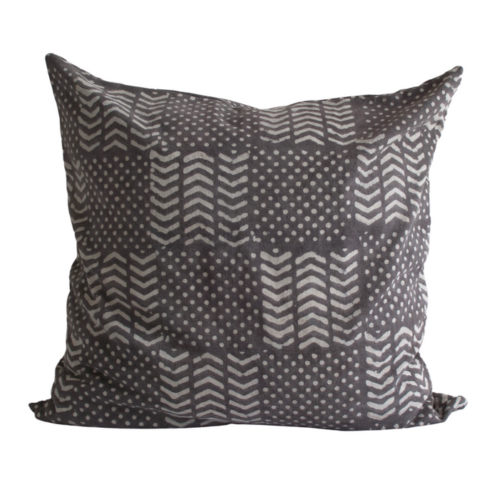 Deep gray throw pillow with prints in light gray 24