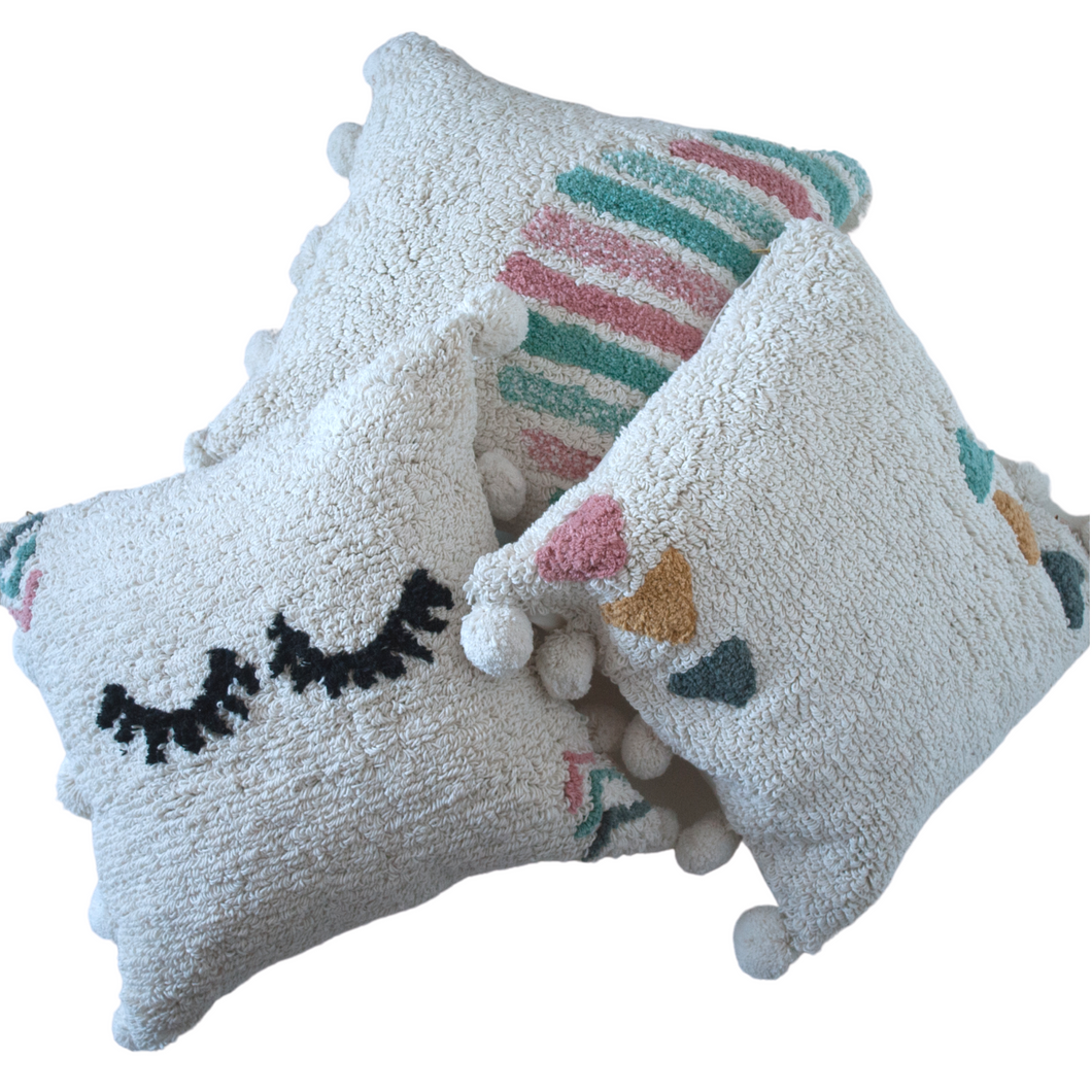 Set of three washable pillows 100% cotton 20