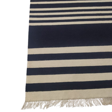 Load image into Gallery viewer, Wool Nautical Blue Striped Rug