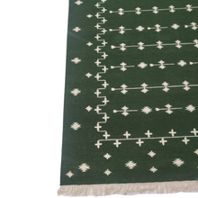 Load image into Gallery viewer, Woodland Green Dhurrie Rug