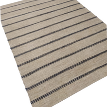 Load image into Gallery viewer, Neutral Striped Jute Dhurrie Rug