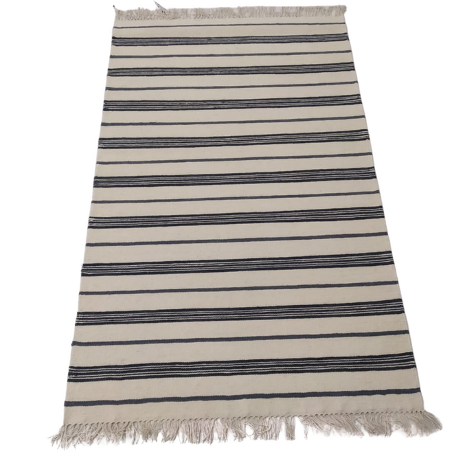 Classic Striped Dhurrie Rug Navy Blue and Gray