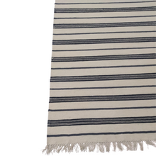Load image into Gallery viewer, Classic Striped Dhurrie Rug Navy Blue and Gray