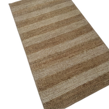 Load image into Gallery viewer, White and Beige Striped Jute Dhurrie Rug