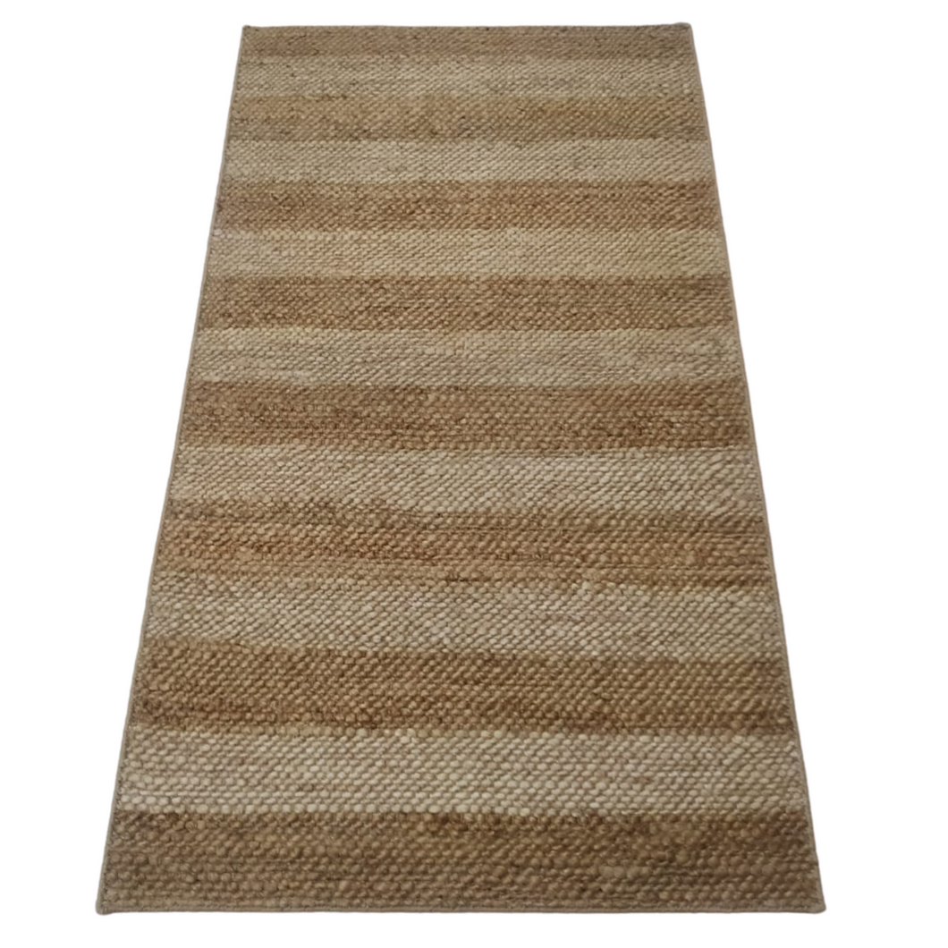 White and Beige Striped Jute Dhurrie Rug