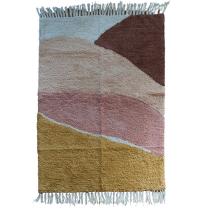 Pink Washable Rug Multicolor 100% Cotton