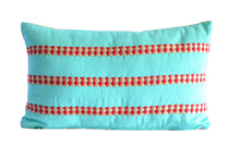 Load image into Gallery viewer, turquoise and red lumbar accent pillow handmade in Guatemala