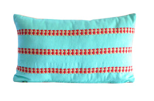 turquoise and red lumbar accent pillow handmade in Guatemala