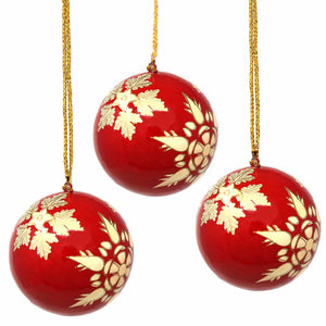 Handpainted Ornaments, Gold Snowflakes - Pack of 3