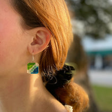 Load image into Gallery viewer, Square Glass Dangle Earrings, Blue Green Waves - Tili Glass