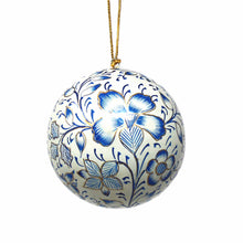 Load image into Gallery viewer, Handpainted Ornaments, Blue Floral - Pack of 3