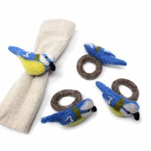 Napkin Rings, Set of 4 Birds - Yellow/Blue