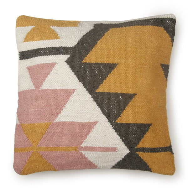 Geo Pink and Yellow Accent Pillow