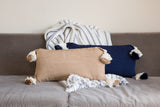 Designer Navy Blue Lumbar Pillow with tassels