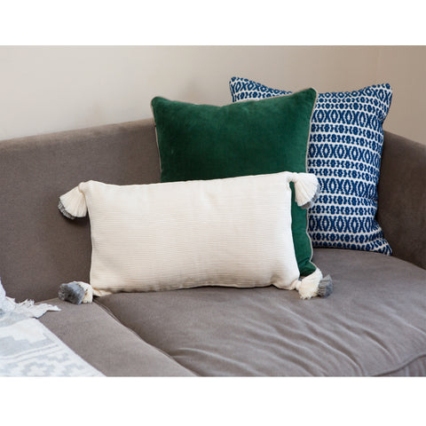 designer lumbar pillow in cream and light gray